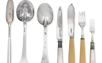 A collection of antique silver flatware