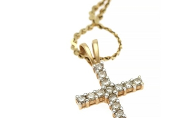 A diamond pendant in shape of a cross set with numerous brilliant-cut diamonds on a 14k gold necklace. (2)