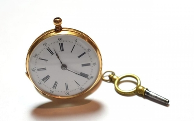 A lady's fob watch, case stamped 18k