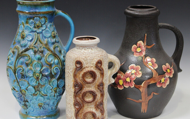 A large mixed group of assorted West German pottery vases and jugs, including Scheurich, mostly with