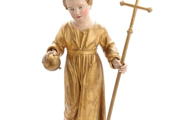 A late 19th century chalkware figure of the Child Jesus holding globe and cross. H. 86 cm.