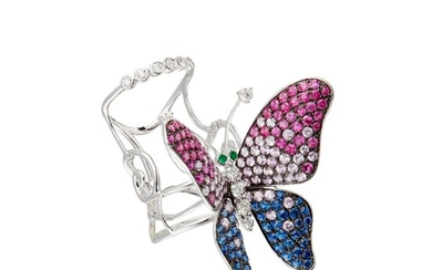 A multi-gem set butterfly ring