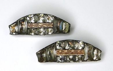 A pair of Georgian paste, silver and gold buckle fasteners, ...