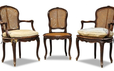 A pair of Louis XV beech and...