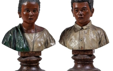 "A pair of Philippine carved painted figures ""The..."