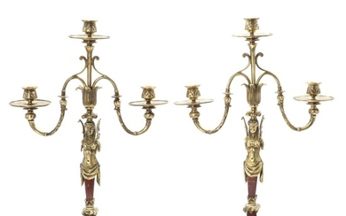 A pair of bronze and red marble candelabra, each with three branches. 19th-20th century. H. 57 cm. (2)