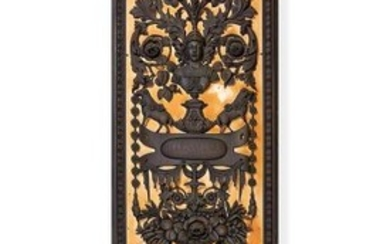 A pair of carved bronzed wood panels by Anton Leone Bulletti, Florence, dated 1864