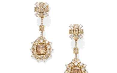A pair of colored diamond and diamond convertible earrings