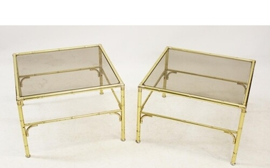 A pair of mid 20th century gilt metal and smoked glass lamp ...