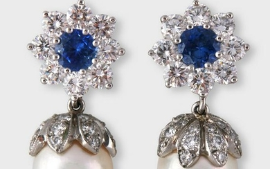 A pair of sapphire, diamond, cultured pearl and