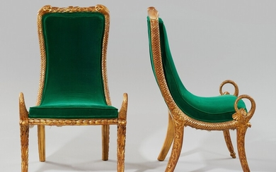 A rare pair of gondola chairs with zoomorphic decor