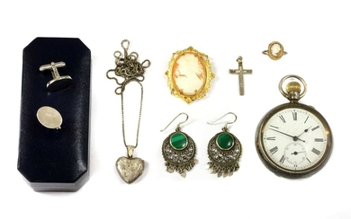 A sterling silver pin set open-faced pocket watch