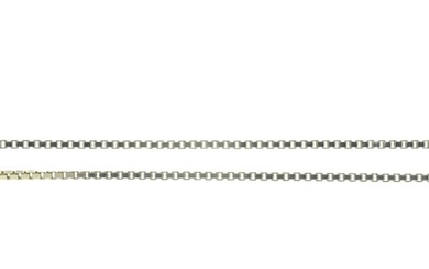 AN 18CT WHITE GOLD NECKLET, APPROXIMATELY 490MM, IMPORT MARK...