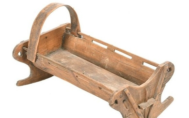 American 19th Century Carved Oak Baby Cradle.