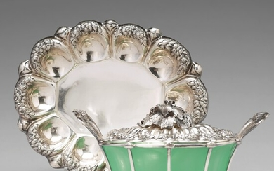 An Austrian mid 19th century silver and green glass bowl and cover on dish, un identified makers mark, Vienna 1845.