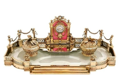 Antique French Silver Gilt, Glass & Enamel Inkstand