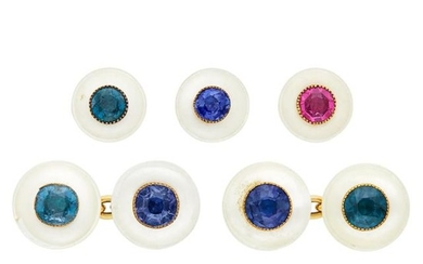 Antique Gold, Mother-of-Pearl and Multicolored Spinel Dress Set