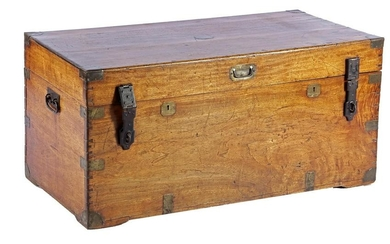 Antique teak chest with brass fittings, 50 cm high, 105