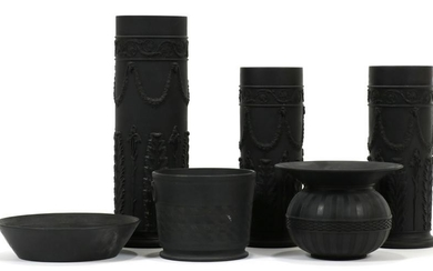 BLACK BASALT VASES, INCL. WEDGWOOD, 6 PCS