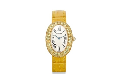 CARTIER | BAIGNOIRE, REFERENCE 1954 A YELLOW GOLD AND YELLOW SAPPHIRE-SET WRISTWATCH, CIRCA 1990
