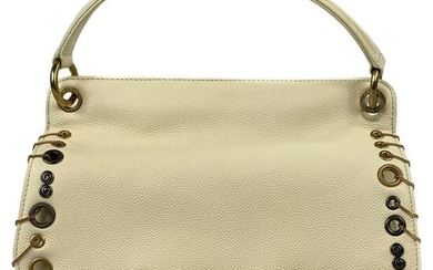 CHANEL Cream/ Ivory Caviar Quilted Grommet Embellished