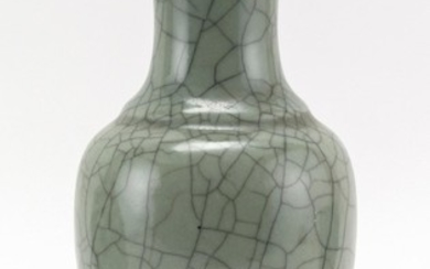"""CHINESE GUAN WARE VASE In baluster form, with an overall crackle glaze. Height 9.8""""."""