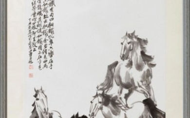 """CHINESE PAINTING IN THE STYLE OF XU BEIHONG Depicting four galloping horses. Significant calligraphy and seal marks upper left. 48""""..."""