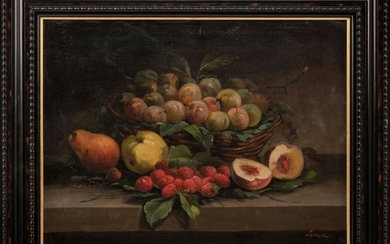 """CONTINENTAL SCHOOL, Late 19th/Early 20th Century, Still life of fruit., Oil on canvas, 16"""" x 21.5"""". Framed 21.25"""" x 26.25""""."""