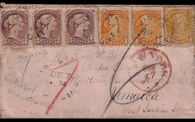 Canada 1874 12c rate Small Queen Registered cover to Jamaica, franked with three 1c and three 3...