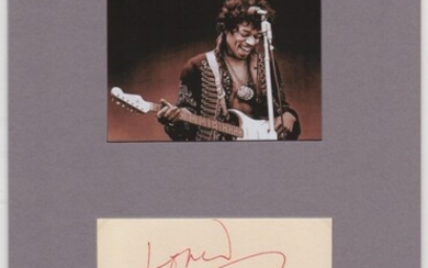 Card signed and matted with photograph Love Jimi Hendrix
