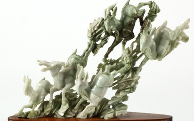 Chinese Carved Jade Goat Group on Wood Base.