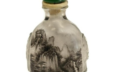 Chinese Glass Snuff Bottle, Mountains