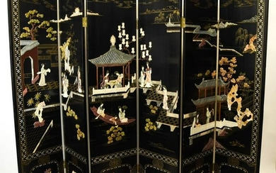 Chinese Lacquer & Gilt Hardstone Inlaid Screen