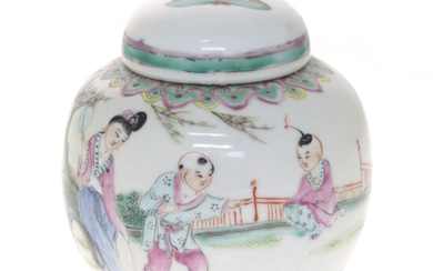 Chinese Porcelain and Enamel Ginger Jar and Cover.