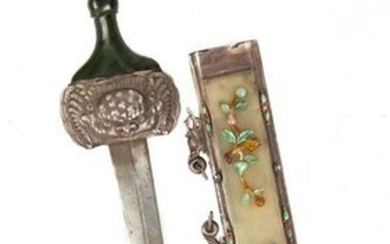 Chinese Silver Sword with Jade Panels & Hardstones