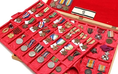 NOT SOLD. Collection medals in wooden box, e.g. England, Russia, Bulgaria etc. In total c....