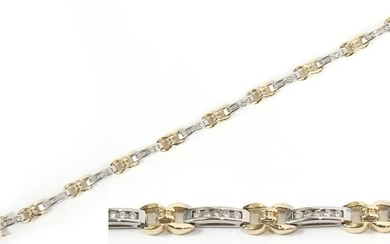 DIAMOND, 14KT WHITE & YELLOW GOLD, LINK BRACELET