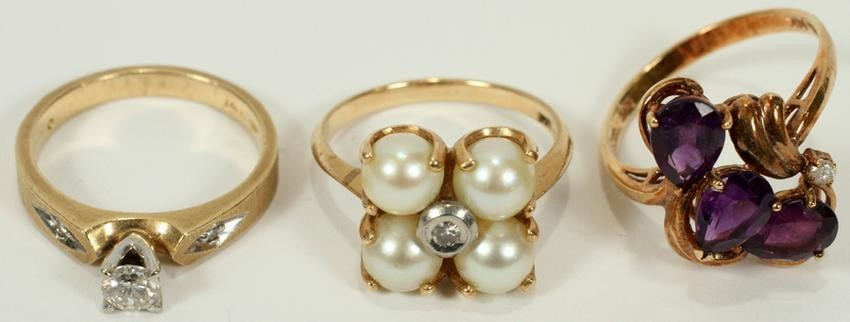 DIAMOND, GOLD RING, & PEARL RING & AMATHYIST RINGS