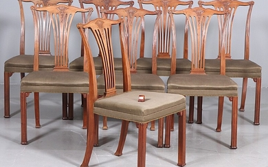 Danish cabinetmaker: Set of eight mahogany chairs with profiled legs, carved with stylized ornaments. H. 95 cm. (8)