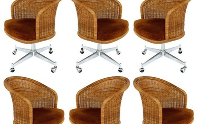 Daystrom Midcentury Rattan / Stainless Swivel Chairs,
