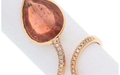 Diamond, Tourmaline, Rose Gold Ring The ring features a...