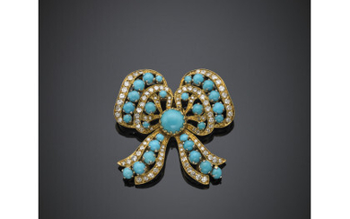 Diamond and turquoise yellow gold bow brooch, g 14.30 circa,...