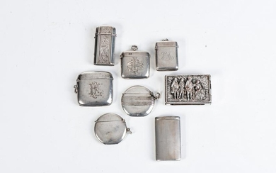 EIGHT SILVER VESTA CASES, VARIOUS MAKERS AND DATES