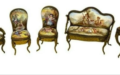 Enamled Gilt Metal Miniature Furniture Suite