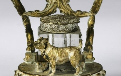 FIGURAL BRONZE INK STAND with SMALL DOG