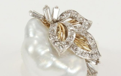 FREE FORM BAROQUE, PEARL & DIAMOND, GOLD RING