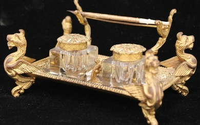 FRENCH FIGURAL INKWELL WITH PEN AND CRYSTAL FONTS