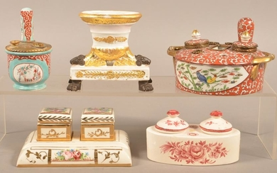Five Antique Porcelain/Pottery Hand-Painted Inkwells.