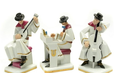 French Art Deco Period Robj Porcelain Musicians, Lot of