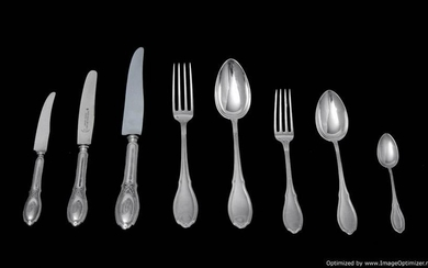 GERMAN 19th CENTURY 112pc. SILVER FLATWARE SET WITH 17